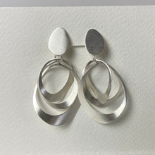 Load image into Gallery viewer, Satin Silver Two Piece Earrings - Clip-on