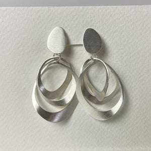 Satin Silver Two Piece Earrings - Clip-on