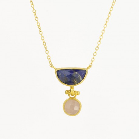 Lapis and Rose Quartz Gemma Necklace