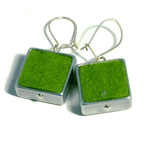 Green Felt Square Earrings