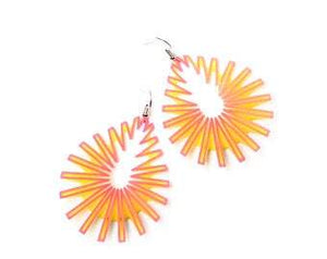 Pink on Yellow Drop Earrings