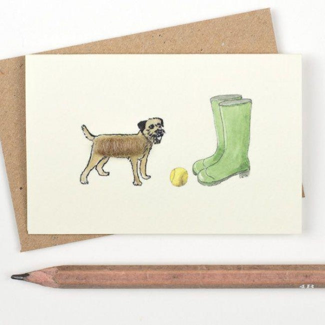 Border Terrier With Wellies Card
