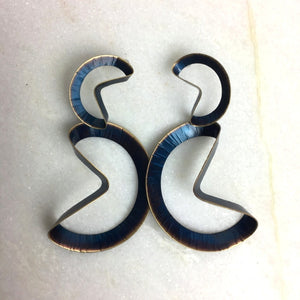 Blue Folded Hoop Earrings