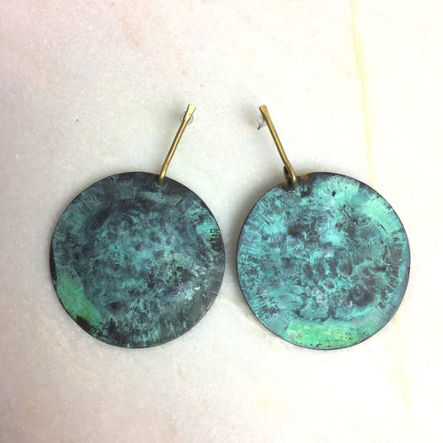 Gold & Green Disc Earrings