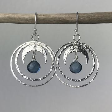 Blue Topaz Crescent Moon Hoops