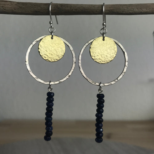 Navy Agate Hoop Drop Earrings