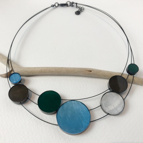 Aqua Green Disc Necklace