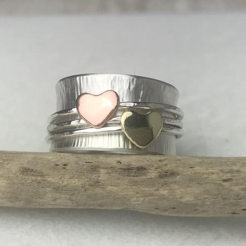 Double Heart Spinning Ring