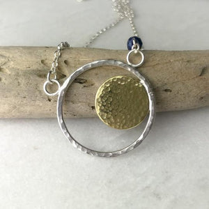Navy Agate Hoop Necklace