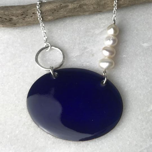 Mediterranean Blue Oval Necklace