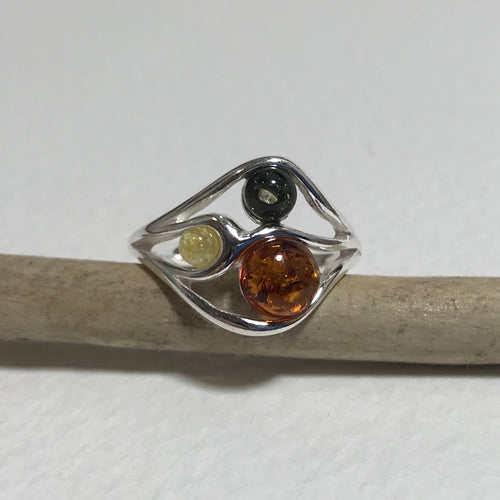 Multicolour Amber Ring
