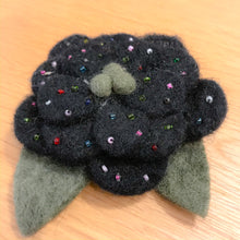 Load image into Gallery viewer, Black Flower Brooch