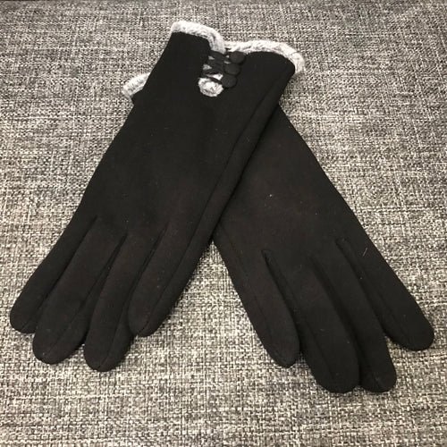 Black Fur Lined Gloves