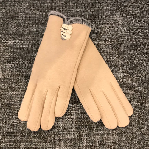 Beige Fur Lined Gloves
