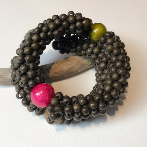 Green Wood & Capiz Bracelet