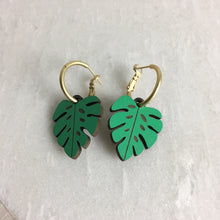 Load image into Gallery viewer, Wooden Monstera Leaf Earrings