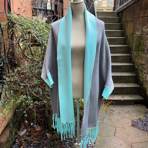 Pale Blue & Grey Reversible Wrap