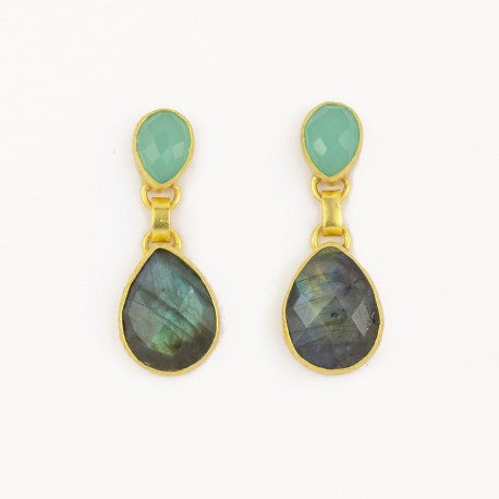 Aqua Chalcedony and Labradorite Earrings