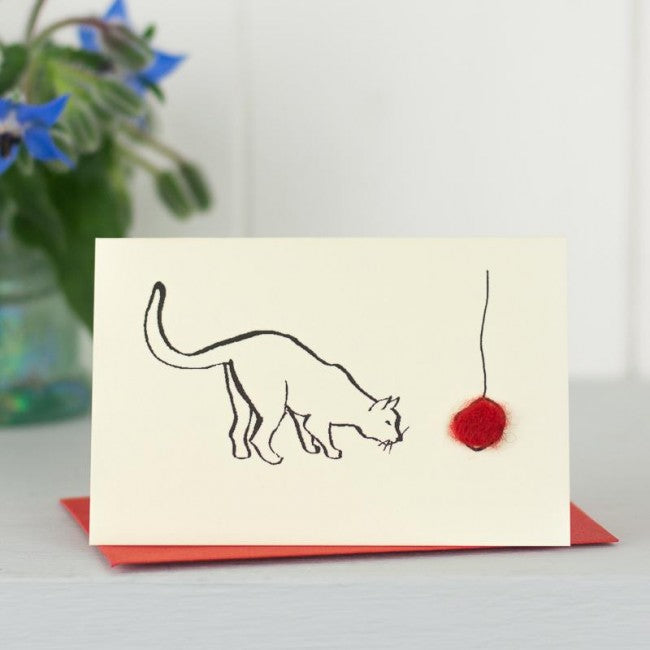 Cat With Red Ball Card