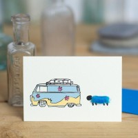 Sheep And Camper Van Card