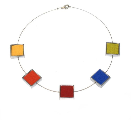 Multi-coloured Felt 5 Square Necklace