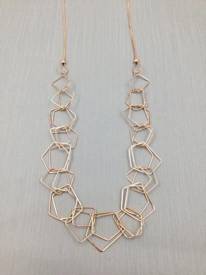 Rose Gold Long Hexagon Necklace