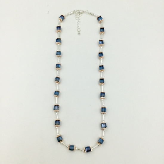Blue Glass Cube Necklace