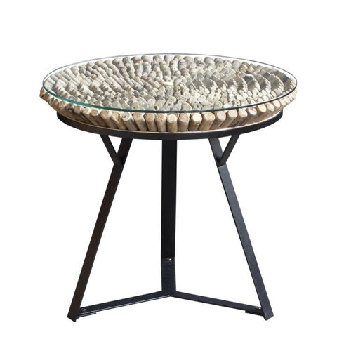 Driftwood Round Lamp Table