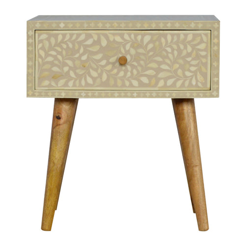 Floral Bone Inlay Bedside Table - 1 Drawer