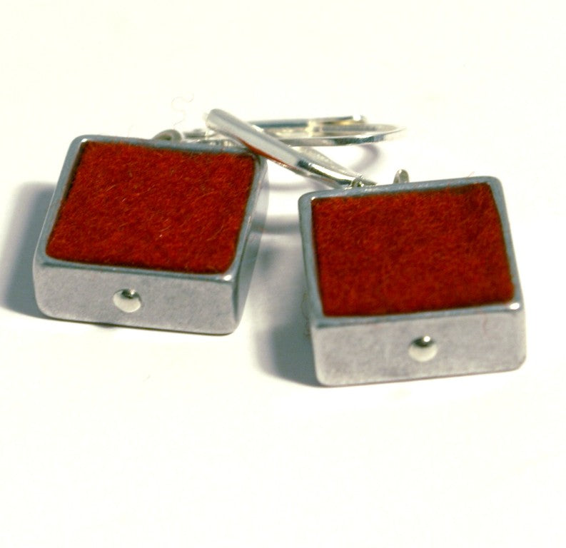 Red Square Felt Earrings