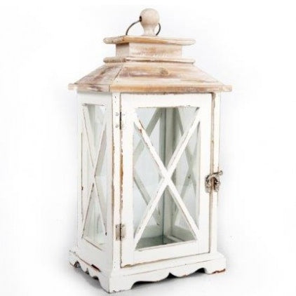 Small White Rustic Lantern