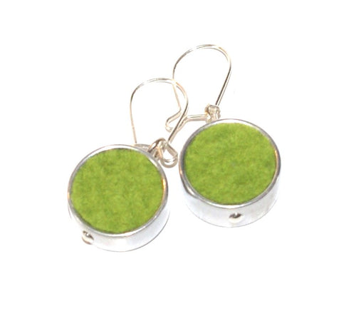 Green Round Felt Earrings