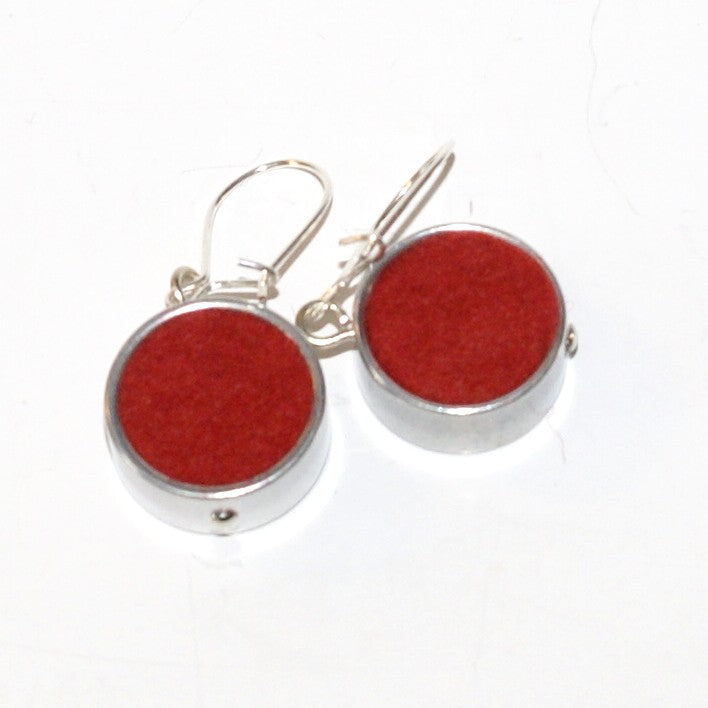 Red Round Felt Earrings