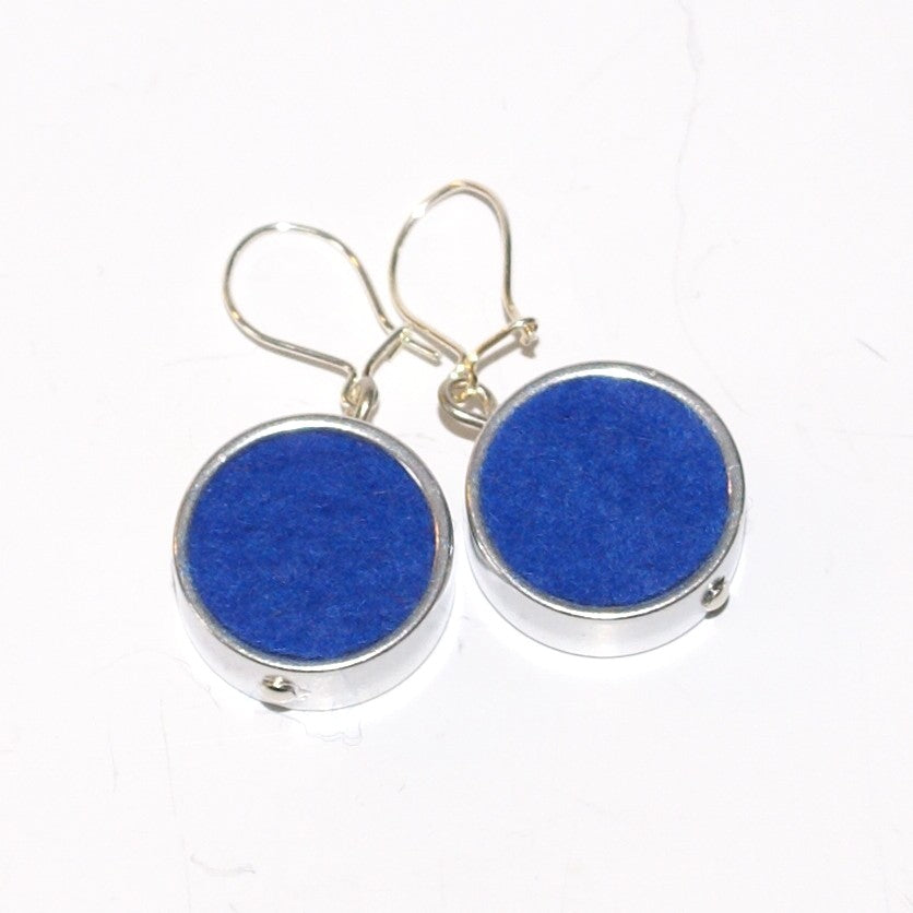 Blue Round Felt Earrings