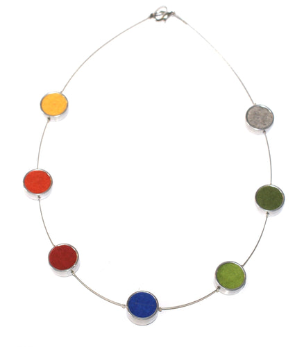 Multi-coloured Felt Circle Necklace
