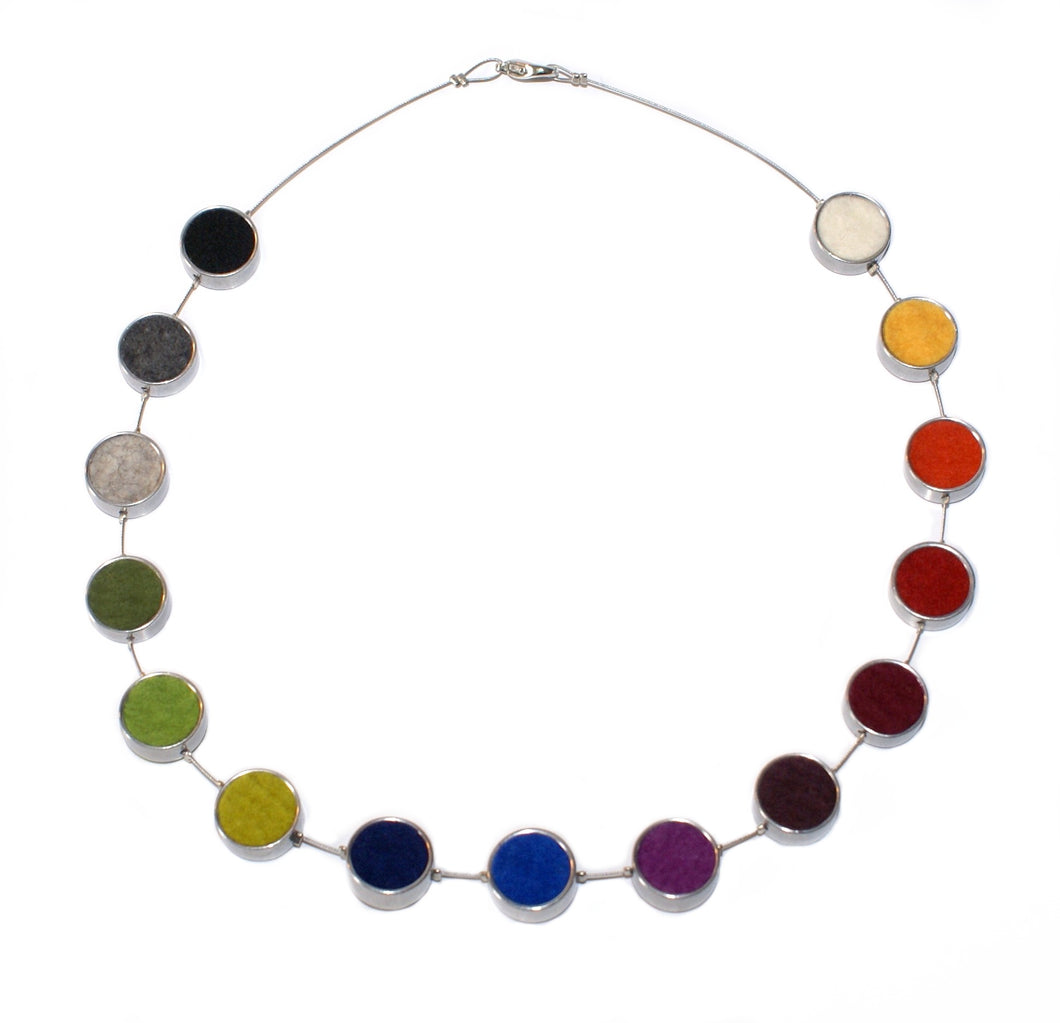 Multi-coloured Felt Circles Necklace