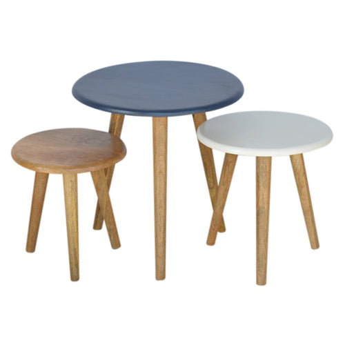 Nordic Blue Nesting Tables - Set of 3