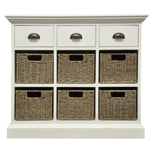 White Oak Small Sideboard - 6 Basket, 3 Drawers