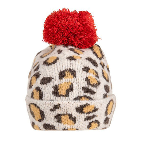 Red Bobble Leopard Print Hat