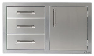 "Alfresco AXE-DDC-l/R 32"" Alfresco Combo Door Plus Drawers"