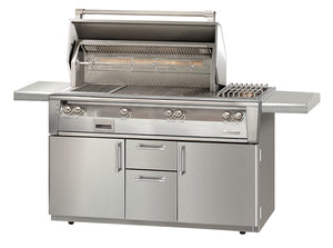 "Alfresco ALXE-56BFGC Freestanding Gas Grill Cart  With Sideburner Or Without Sideburner 56"" Wide"