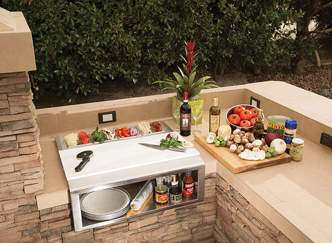 Alfresco APS-30PPC Pizza Prep & Garnish Rail with Food Pans
