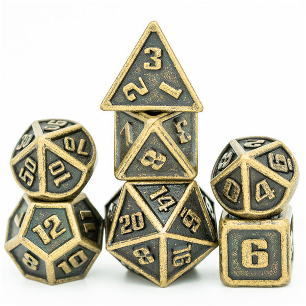Bronze Mini Metal Dice Ancient Effect | (10mm to 15mm) 7-Dice Udixi RPG
