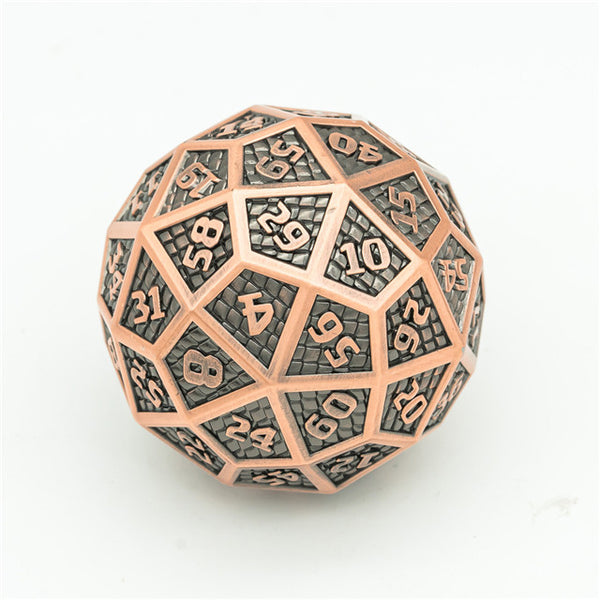 Copper Metal Single 60 Sided Polyhedral Dice (D60) Platted Ancient (40mm)
