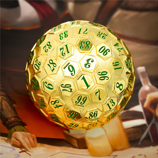 Golden Metal d100 w/ Green Numbers Dungeons and Dragons RPG