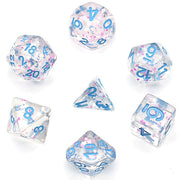 Pink/ White Glitter Stars Dice Series w/Blue