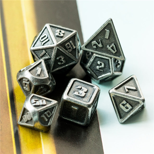 Silver Mini Metal Dice Ancient Effect | (10mm to 15mm) 7-Dice Udixi RPG