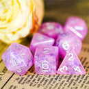 Pink & White w/ Butterfly's inside 7-Dice Set Rpg