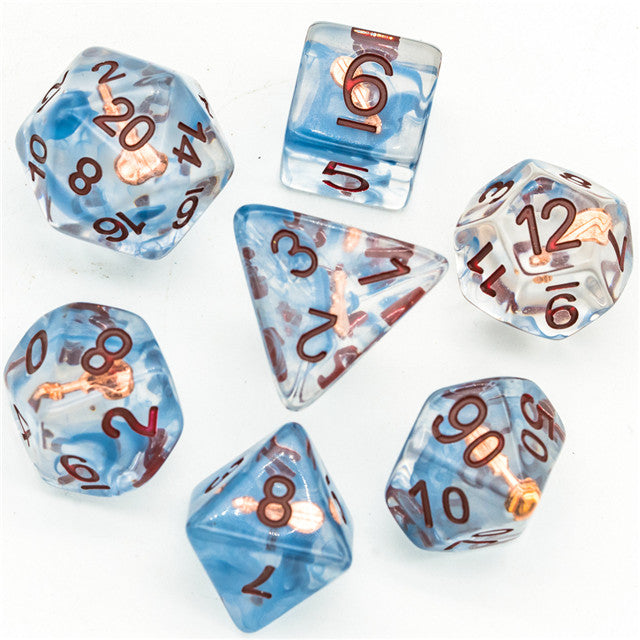 Bard (Violin) Clear Dice w/ Golden Violin 7-Dice Set Rpg