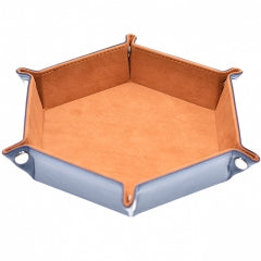 Brown/ Blue Velvet PU Leather Folding Hexagon Dice Tray